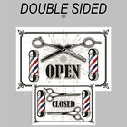 Retro style Open and Closed sign double sided 9501 Barber Shop Hairdresser signs
