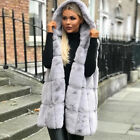 Women Warm Faux Fur Gilet Vest Sleeveless Waistcoat Hooded Cardigan Jacket Coat