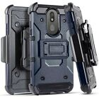 For LG Tribute Royal LM-X320PM Tactical Clip + Hybrid Case Cover +Tempered Glass