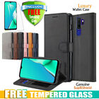 For Oppo A5 A9 2020 Oppo A91 Ax7 Wallet Leather Flip Case Cover + Tempered Glass