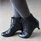Women Kitten Heel Victorian Gothic Ankle Boots Ladies Leather Lace Up Shoes Size