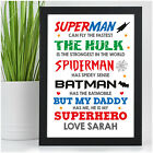 PERSONALISED Superhero Birthday Gifts for Dad Daddy Grandad Uncle Brother Son