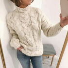 Womens Chunky Knitted Cable Sweater Ladies Long Sleeve Jumper Warm Tops Pullover