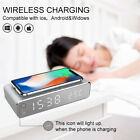 Wireless Phone Charger Alarm Clock LED Desktop Digital Thermometer Clock US