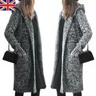 UK Womens Long Sleeve Open Front Chunky Knitted Cardigans Hooded Sweater