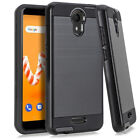 Tempered Glass + Metallic Hybrid Dual Cover Phone Case For Cricket Icon U304