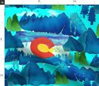 Mountain Whimsical Watercolor Colorado Fabric Printed by Spoonflower BTY