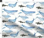Whales Blue Nautical Ocean Sea Animals Fabric Printed by Spoonflower BTY