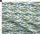 Blue And Green Abstract Camo Watercolor Fabric Printed by Spoonflower BTY