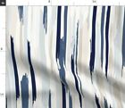 Painted Stripe Blue Neutral Tan Fabric Printed by Spoonflower BTY