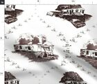 Trailer Toile Trash Mobile Home Funny Redneck Fabric Printed by Spoonflower BTY