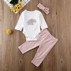 US Newborn Infant Baby Girl Clothes Elephant Tops+Striped Pants+Headband Outfits