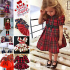 UK Toddler Kid Baby Girl Christmas Dress Plaid Tutu Party Pageant Dress Xmas