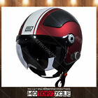 O528 Retro Vintage Cafe Scooter Motorcycle Bluetooth Helmet Red White Gara XS