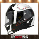 T14B Full Face Motorcycle Helmet Bluetooth Street Flat Black Stryker White L DOT