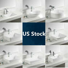 White Contemporary Bathroom Vessel Sink Porcelain Ceramic Modern Art Basin Bowl