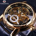 Forsining Vintage Mens Leather Luxury Automatic Skeleton Steampunk Watches Gift