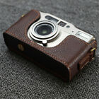 Handmade Leather Half Case for Contax TVS Camera Yellow Brown Retro Style Cover