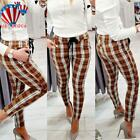 US Womens Plaid Check Slim Skinny Pencil Trousers Ladies High Waist Casual Pants