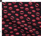 Vampire Lips Fang Blood Red Fabric Printed by Spoonflower BTY
