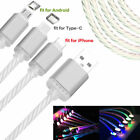 Charger Data Cable Charging Cord LED Light Up USB Sync For Type-C iOS Android