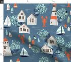 Nantucket Blue Beach Houses Nautical Fabric Printed by Spoonflower BTY