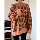 Epicsnob Womens Loose Knit Long Sleeve Leopard Pattern Sweater Pullover Tops