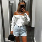 US Autumn Women Casual Off Shoulder Cropped Tops Sheer Mesh Puff Sleeve Blouse