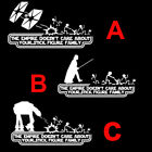 Star Wars Empire Doesnt Care Stick Family Funny Car Truck Vinyl Decal Sticker $0.99 USD on eBay