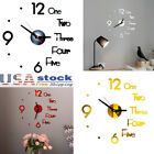 Modern DIY Wall Clock 3D Mirror Numbers Surface Sticker Home Handmade Room Decor