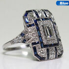 Antique Art Deco Large Silver Blue Sapphire & Diamond Ring Jewellery beautiful
