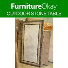 Outdoor Dining Natural Travertine Stone Table Patio Garden Furniture