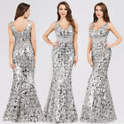 Ever-Pretty US Sequin V Neck Long Evening Prom Dresses Bodycon Mermaid Ball Gown