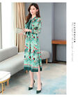 Women's temperament Lotus leaf sleeve stitching floral printed dress KREDM40116#
