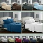 3/4 Pieces Deep Pocket Fitted Flat Bed Sheet Set Single/Double/Queen/King Size image