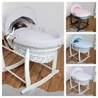 Luxury Wicker Moses Basket and safety Mattress