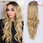 26 Inch Long Wavy Synthetic Wig Platinum Blonde Natural Wave Look Wigs 6 Colors