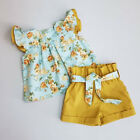 2pcs Toddler Baby Girl Clothes Floral Ruffle Top T-shirt Shorts Outfits Summer