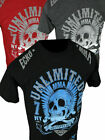 Mens ECKO UNLTD T-Shirt TO THE GRAVE MMA SKULL FIGHTER in Black Red or Charcoal image