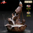 Ceramic Backflow Incense Cone Burner Holder Lotus Waterfall&10/60Cones Gift