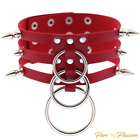 Ladies Vegan Faux Leather Choker Spike Collar with 'O' Rings, Bondage Style.