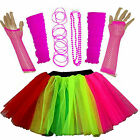 NEW GIRLS NEON TUTU SKIRT HEN PARTY 80S FANCY DRESS ACCESSORIES BANGLES MULTI