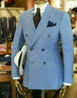 Mens Blue Suit Double Breasted Blazer Groom Tuxedo Party Dinner Formal Suit