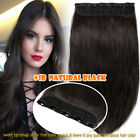 Ombre Clip In Remy Thick One Piece Human Hair Extensions Brunette Short Medium