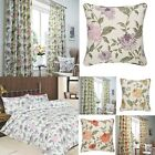 Felicity Floral Ready Made 100% Cotton Curtains Lined Matching Bedspreads