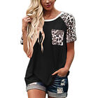 Women Leopard Round Neck T Shirt Ladies Casual Loose Short Sleeve Blouse Tops UK