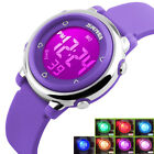 """Children""""s Gift Colorful LED Digital Sports Waterproof Stopwatch Alarm Watch US image"""