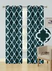 2PC Printed Blackout Window Curtains Bedroom Living Room White Lined Fabric 84