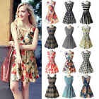 Women Tank Sundress Summer Beach Chiffon Mini Dress Sleeveless OL Floral Pleated