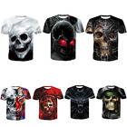 Punk Men Funny Skull 3D Print T-Shirt Rock Casual Summer Short Sleeve Tops Tee